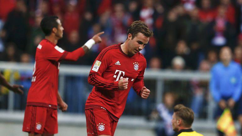 "4 октября. Мюнхен. ""Бавария"" - ""Боруссия"" Д - 5:1. Марио ГЕТЦЕ празднует забитый гол. Фото AFP"