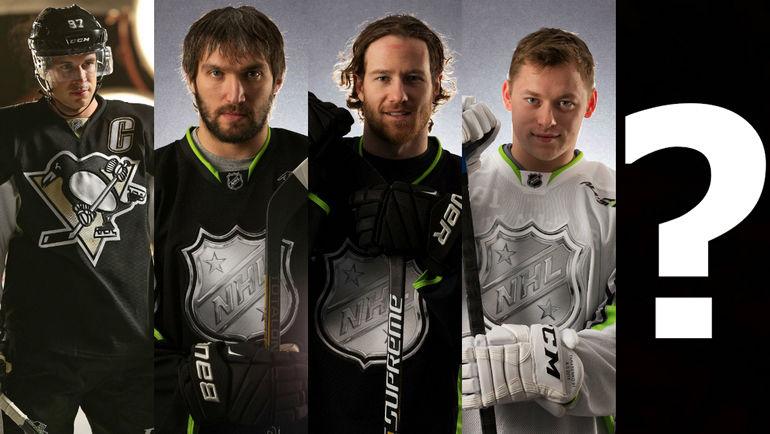 Слева направо: Сидни КРОСБИ, Александр ОВЕЧКИН, Данкан КИТ и Владимир ТАРАСЕНКО. Фото AFP