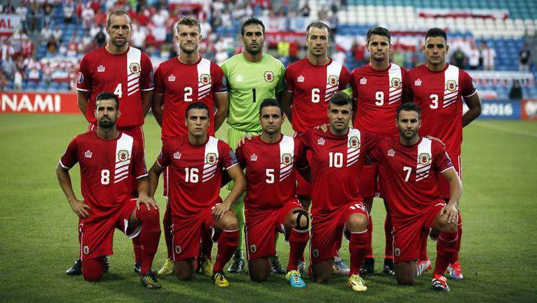 7 сентября 2014 года. Фару (Португалия). Гибралтар - Польша - 0:7. Игроки сборной хозяев перед первым официальным матчем национальной команды. Фото REUTERS