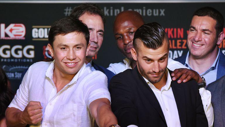 20 августа. Лос-Анджелес. Геннадий ГОЛОВКИН (слева) и Давид ЛЕМЬЕ на пресс-конференции, посвященной бою. Фото AFP