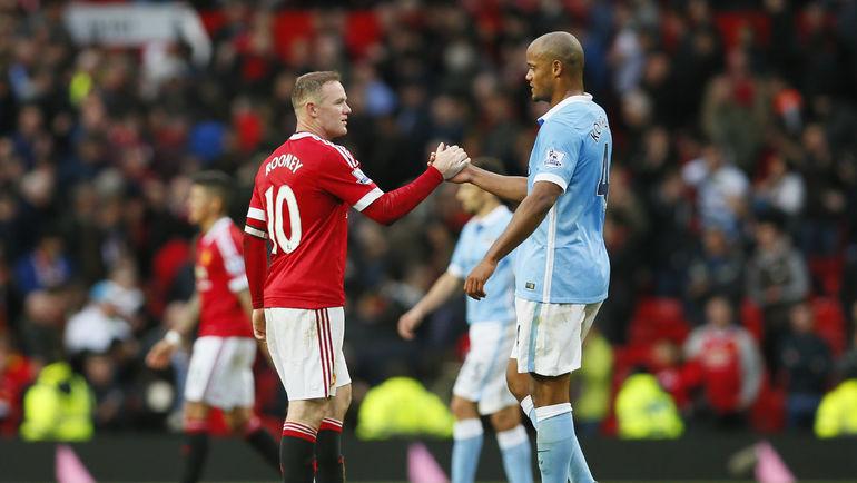 """""""Манчестер Юнайтед"""" - """"Манчестер Сити"""" - 0:0. Уэйн РУНИ (слева) и Венсан КОМПАНИ."""