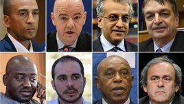 8 претендентов на пост главы ФИФА (слева направо, сверху вниз): Дэвид НАКХИД, Джанни ИНФАНТИНО, Шейх САЛМАН, Жером ШАМПАНЬ, Муса БИЛИТИ, Принц АЛИ, Токио СЕКСВАЛЕ и Мишель ПЛАТИНИ.