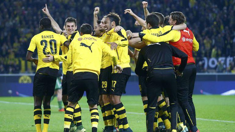 """Воскресенье. Дортмунд. """"Боруссия"""" - """"Шальке"""" - 3:2. Хозяева празднуют победу в дерби. Фото REUTERS"""