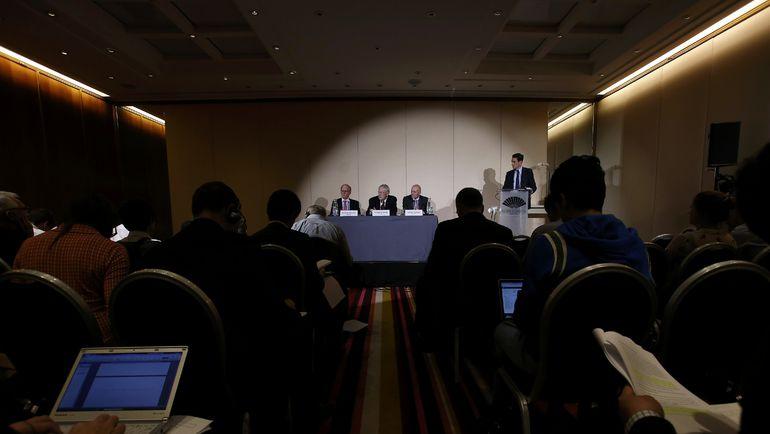 Понедельник. Женева. Пресс-конференция ВАДА о результатах расследования об использовании допинга в российской легкой атлетике. Фото REUTERS