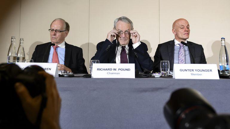 Пресс-конференция комиссии ВАДА под началом Ричарда ПАУНДА. Фото AFP