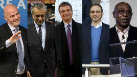 Кандидаты в президенты ФИФА. Джанни ИНФАНТИНО, шейх Салман бин Ибрахим АЛЬ-ХАЛИФА, Жером ШАМПАНЬ, принц Али бин АЛЬ-ХУСЕЙН, Токио СЕКСВАЛЕ (слева направо).