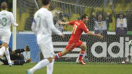 12 октября 2012 года. Москва. Лужники. Россия - Португалия - 1:0. 6-я минута. Только что Александр КЕРЖАКОВ забил победный гол.