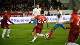 Сегодня. Краснодар. Россия - Португалия - 1:0. 89-я минута. Гол Романа ШИРОКОВА.