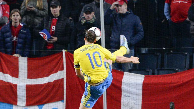 Швеция - Дания - 2:1. Лидер сборной Швеции Златан ИБРАГИМОВИЧ.