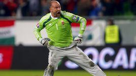 Вратарь сборной Венгрии Габор КИРАЙ и его знаменитые серые штаны.