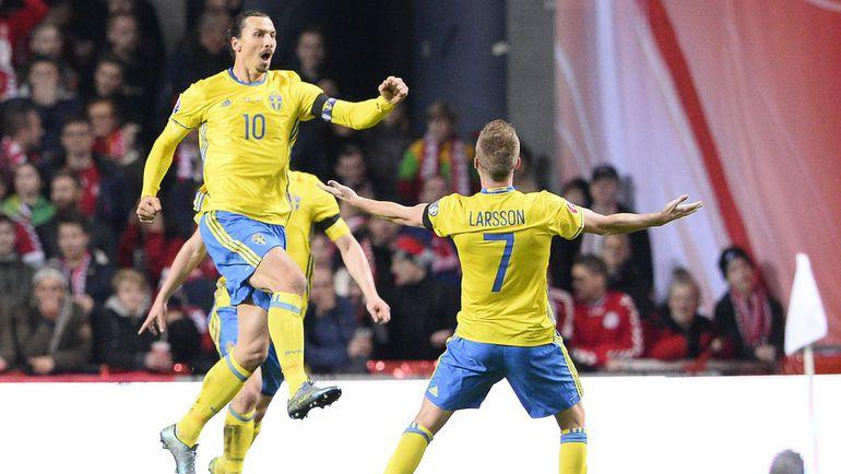 Вторник. Копенгаген. Дания – Швеция - 2:2. Златан ИБРАГИМОВИЧ едет на Euro-2016. Фото AFP