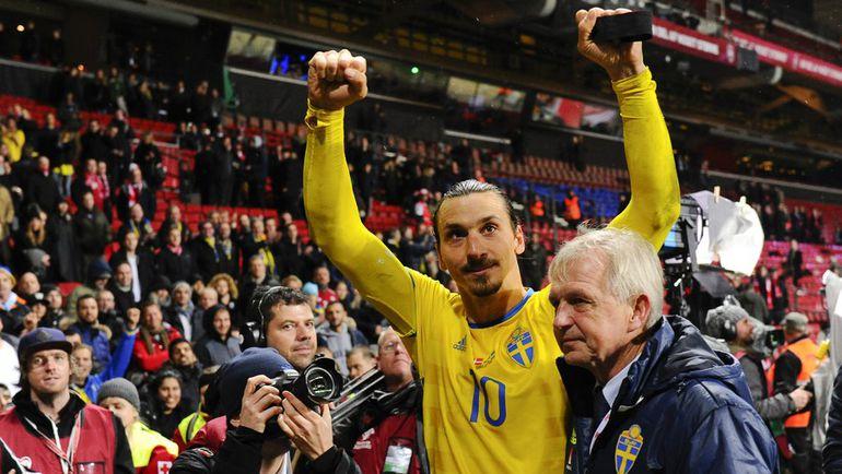 Дания - Швеция - 2:2. Нападающий шведской сборной Златан ИБРАГИМОВИЧ.