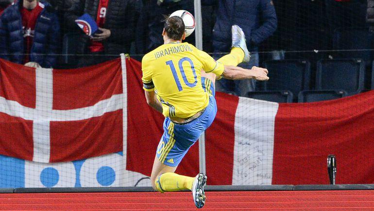 Нападающий сборной Швеции Златан ИБРАГИМОВИЧ. Фото AFP