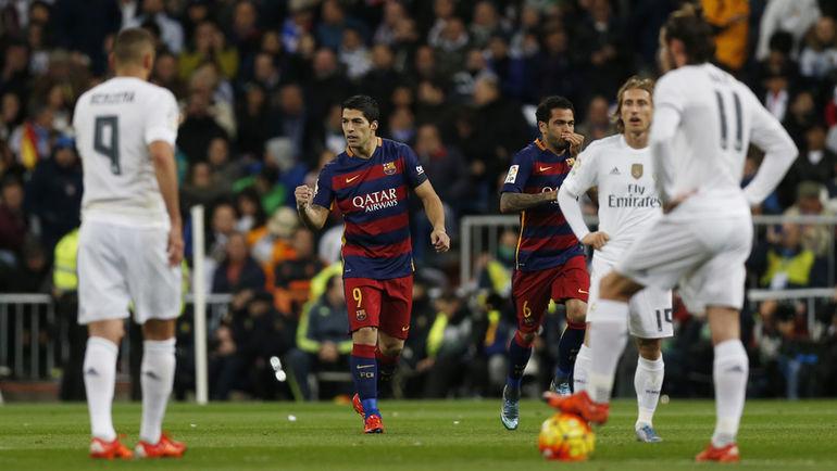 """Суббота. Мадрид. """"Реал"""" - """"Барселона"""" - 0:4. Только что Луис СУАРЕС открыл счет."""