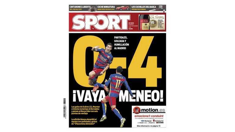 Главная страница газеты Sport. Фото sport.es