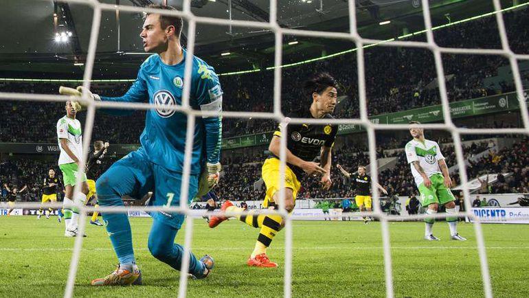 """Суббота. Вольфсбург. """"Вольфсбург"""" – """"Боруссия"""" Д – 1:2. 90+3-я минута. Гол полузащитника гостей Синдзи КАГАВА принес победу его команде. Фото AFP"""