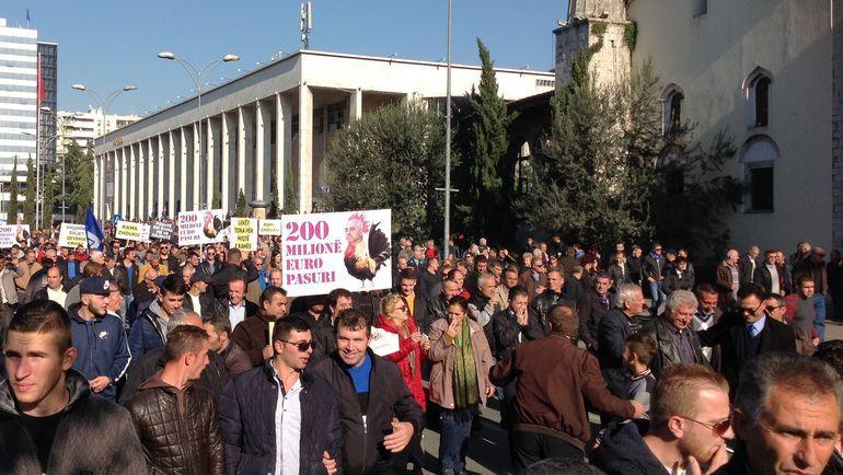"""Сегодня. Тирана. Митинг в албанской столице. Фото """"СЭ"""""""