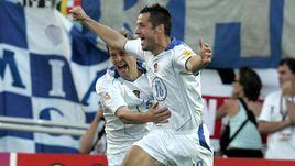 21 июня 2004 года. Фару. Россия - Греция - 2:1. 2-я минута. Гол Дмитрия КИРИЧЕНКО (№ 18) - самый быстрый в истории Euro.