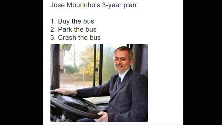 Трехлетний план Жозе Моуринью: 1. Купить автобус. 2. Припарковать автобус. 3. Разбить автобус.