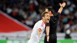 1 июня 2012 года. Италия - Россия - 0:3. 60-я минута. александр КЕРЖАКОВ празднует победный гол в товарищеском матче на стадионе
