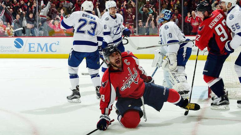 """Пятница. Вашингтон. """"Вашингтон"""" – """"Тампа-Бэй"""" – 5:3. Александр ОВЕЧКИН празднует чудо-гол. Фото НХЛ"""