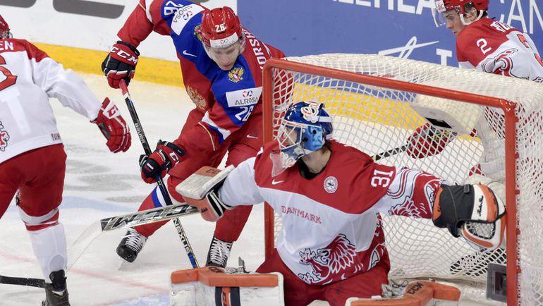 Суббота. Хельсинки. Россия - Дания - 4:3 ОТ. Егор КОРШКОВ открывает счет в игре. Фото AFP