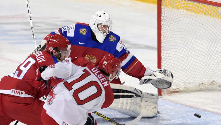Суббота. Хельсинки. Россия - Дания - 4:3 ОТ.  Томас ОЛЬСЕН выводит датчан вперед. Фото AFP