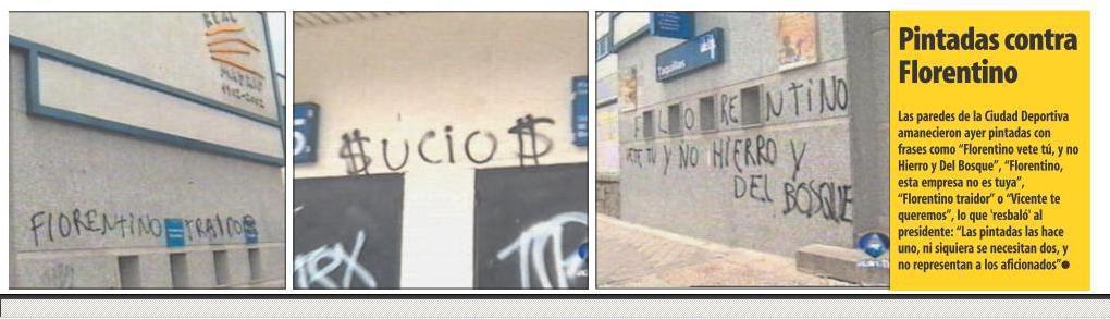 """Проклятия"" в адрес Флорентино Переса на стенах мадридских зданий. Фото ""СЭ"""
