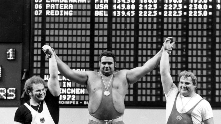 1972 год. Мюнхен. Слева направо: Рудольф МАНГ, Василий АЛЕКСЕЕВ и Герд БОНК. Фото Фотохроника ТАСС