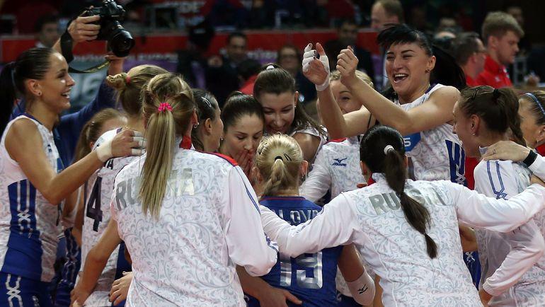 Суббота. Анкара. Россия - Голландия - 3:1. Россиянки празднуют выход на Олимпиаду в Рио.