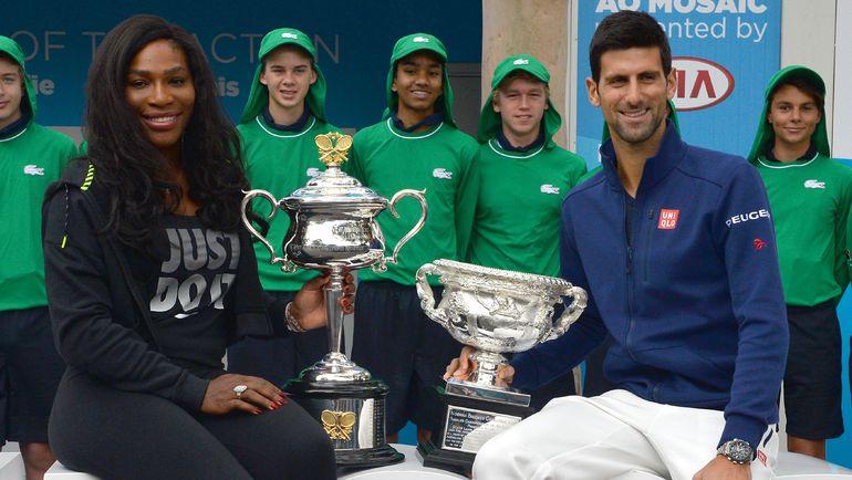 Действующие чемпионы Australian Open Серена УИЛЬЯМС и Новак ДЖОКОВИЧ. Фото AFP