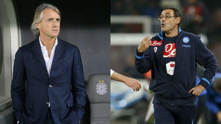Роберто МАНЧИНИ и Маурицио САРРИ. Фото AFP