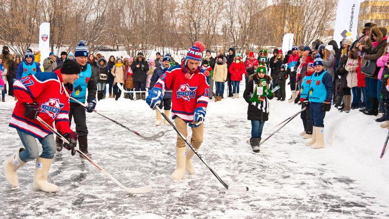 """Акция """"Хоккей на Волге"""", устроенная Высшей хоккейной лигой. Фото Владимир КОМАРОВ"""