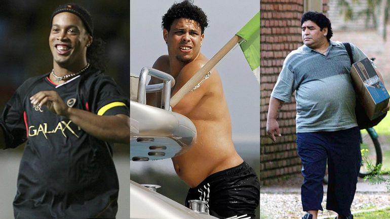 Толстяки от футбола (слева направо): РОНАЛДИНЬЮ, РОНАЛДО и МАРАДОНА. Фото AFP