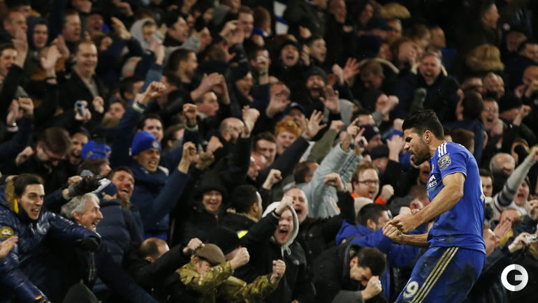 """Сегодня. Лондон. """"Челси"""" – """"Манчестер Юнайтед"""" – 1:1 (0:0). Диегу КОСТА радуется забитому голу."""