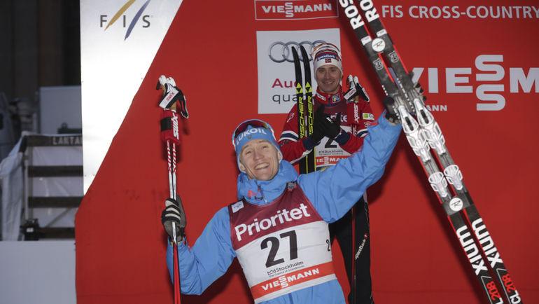 Четверг. Стокгольм. Никита КРЮКОВ - победитель спринта. Фото Reuters