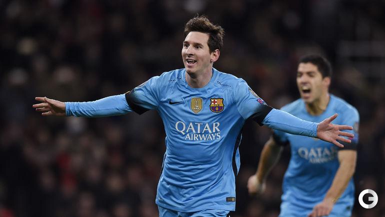 """Вторник. Лондон. """"Арсенал"""" (Англия) – """"Барселона"""" (Испания) – 0:2 (0:0). Лионель МЕССИ радуется забитому мячу."""