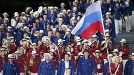 27 июля 2012 года. Лондон. Делегация олимпийской сборной России на открытии Игр-2012. В Рио-де-Жанейро не все российские атлеты смогут выступать под триколором.