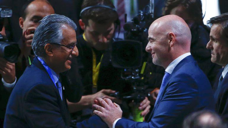 Сегодня. Цюрих. Шейх Салман бин Ибрагим АЛЬ-ХАЛИФА и Джанни ИНФАНТИНО. Фото Reuters