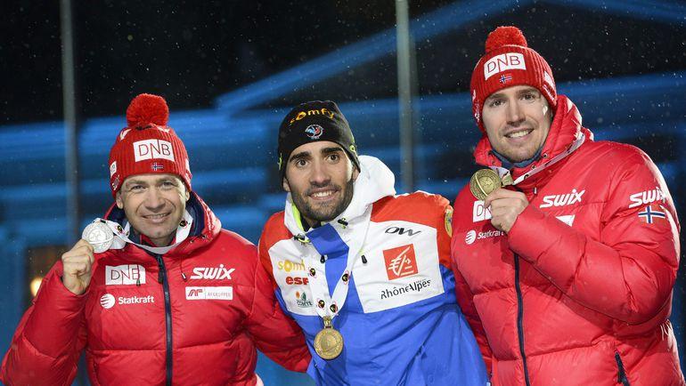 Оле Эйнар БЬОРНДАЛЕН (слева) в 42 года завоевал 42-ю медаль чемпионатов мира. Фото AFP