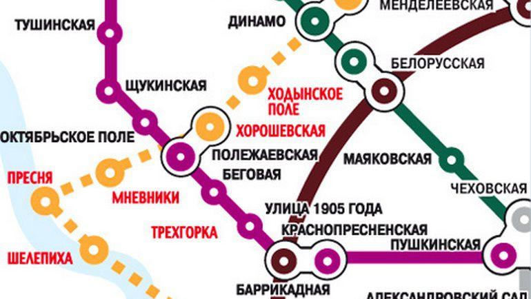 """Расположение станции """"ЦСКА"""" - на схеме пока еще """"Ходынское поле""""."""