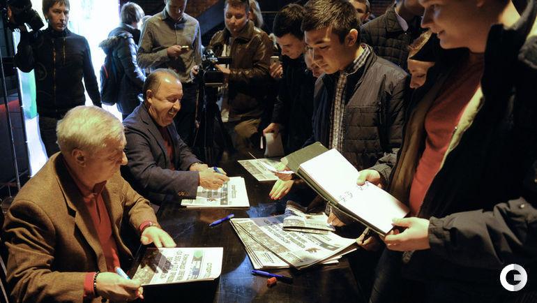 15 марта. Москва. Георгий ЯРЦЕВ и Валерий ГАЗЗАЕВ: автограф-сессия после жеребьевки ТДК.
