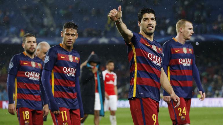 "Среда. Барселона. ""Барселона"" - ""Арсенал"" - 3:1. Игроки ""Барселоны"" празднуют победу."