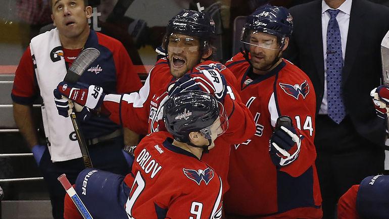 Александр ОВЕЧКИН (8) и Дмитрий ОРЛОВ (9). Фото Geoff Burke-USA TODAY Sports