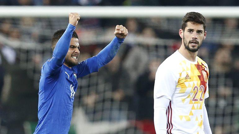 24 марта. Удине. Италия - Испания - 1:1. Лоренсо ИНСИНЬЕ празднует свой гол. Фото Reuters