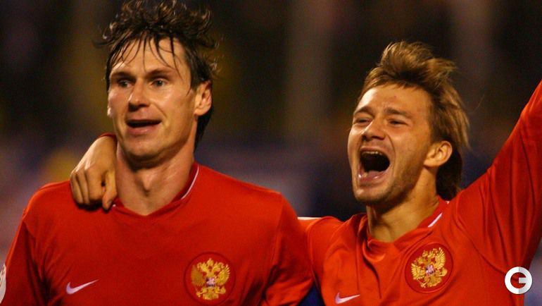 11 октября 2006 года. Санкт-Петербург. Россия - Эстония - 2:0. Егор ТИТОВ и Дмитрий СЫЧЕВ празднуют победу.