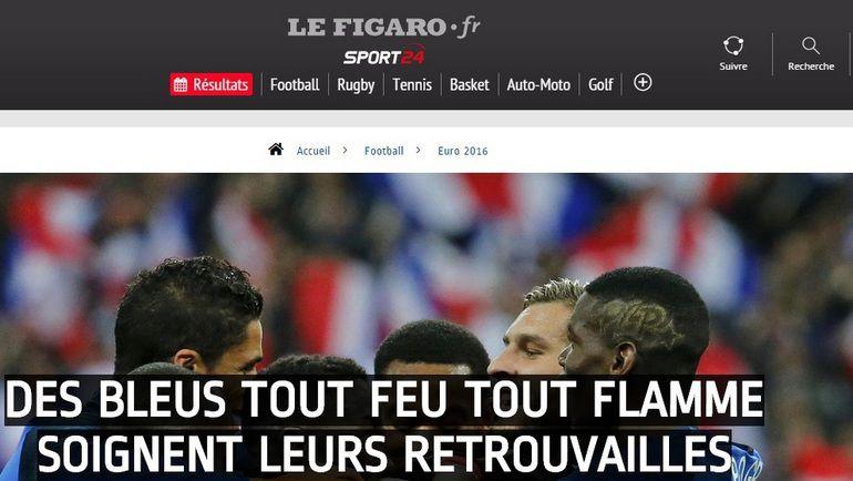 Отчет о матче Франция - Россия - 4:2 на сайте газеты Le Figaro.