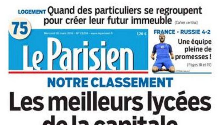 Первая полоса сегодняшнего номера французской газеты Le Parisien.