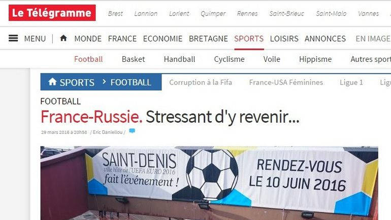 Статья французского издания Le Telegramme о безопасности во время матча Франция - Россия - 4:2.