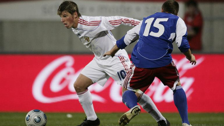 1 апреля 2009 года. Вадуц. Лихтенштейн - Россия - 0:1. В атаке Андрей АРШАВИН (№10). Фото AFP